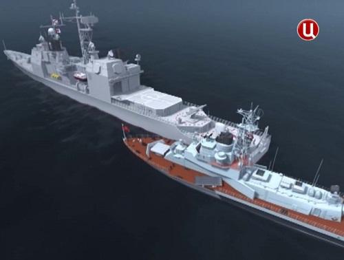 как русский корабль таранил американцев видео